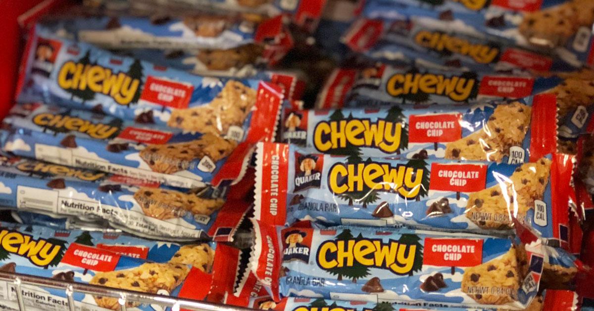 quaker granola bars on a store shelf