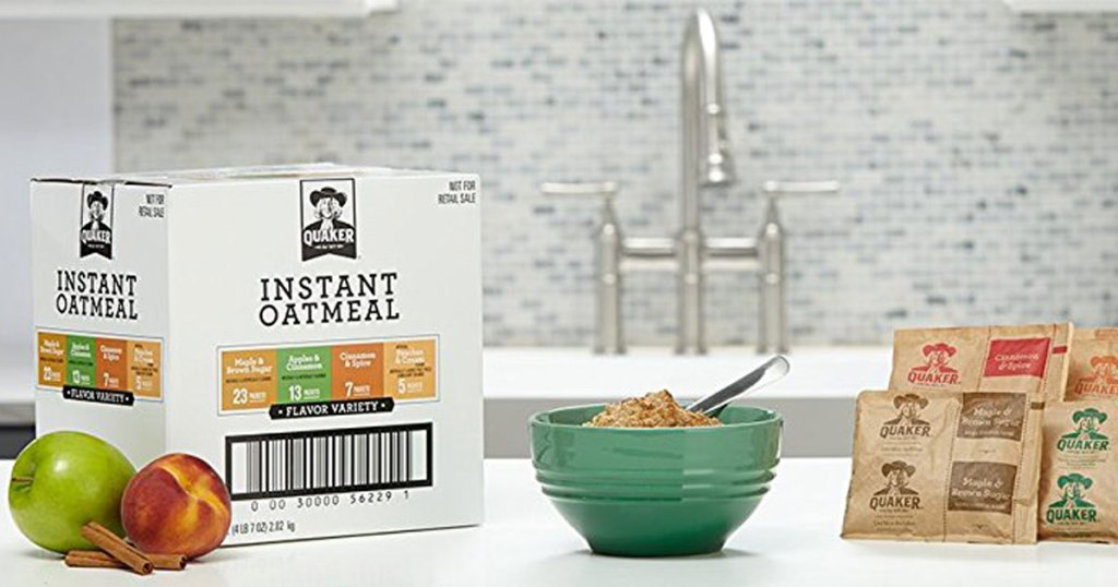 quaker oatmeal variety pack on kitchen counter