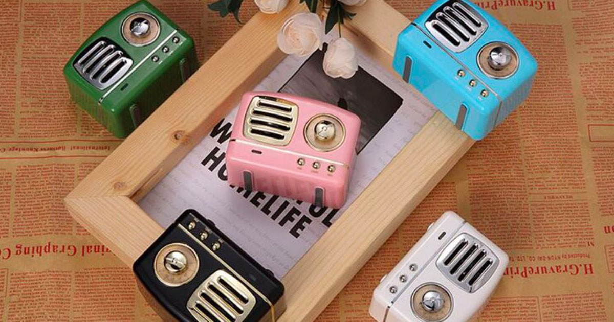 This retro radio bluetooth speaker is a cute little deal! Shown here in five colors