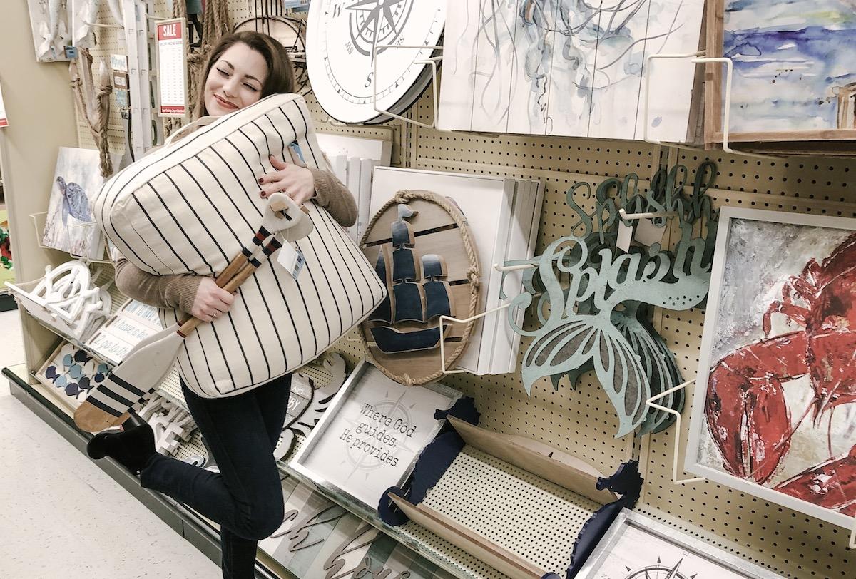 sara hugging nautical floor pillow