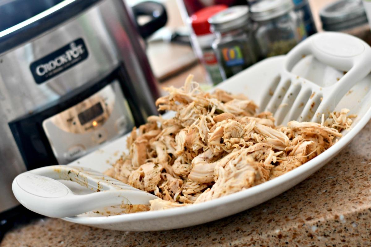 Slow Cooker Chicken Tacos - shredded on a platter