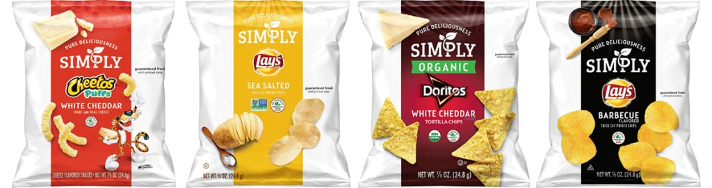 simply organic chips Cheetos puffs, Lay's Sea Salted, Doritos White Cheddar and Lay's BBQ