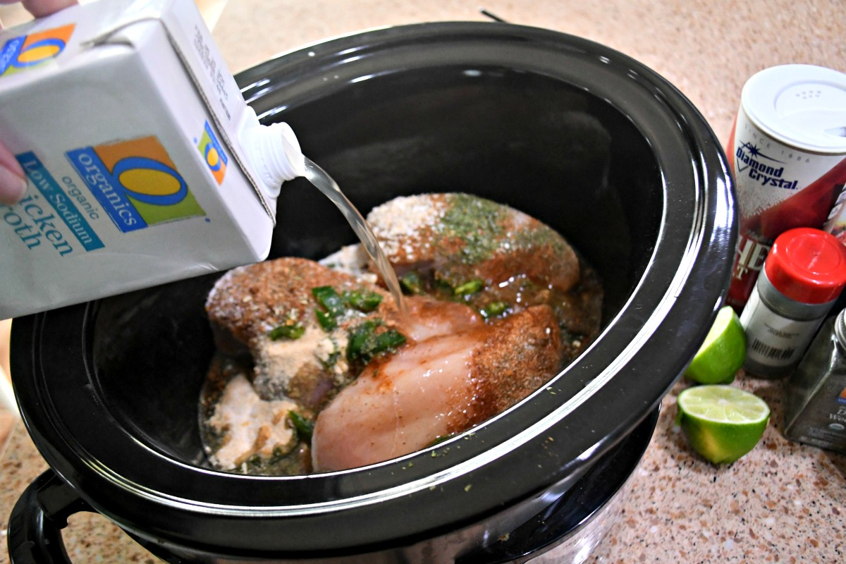 Slow Cooker Chicken Tacos - adding chicken broth