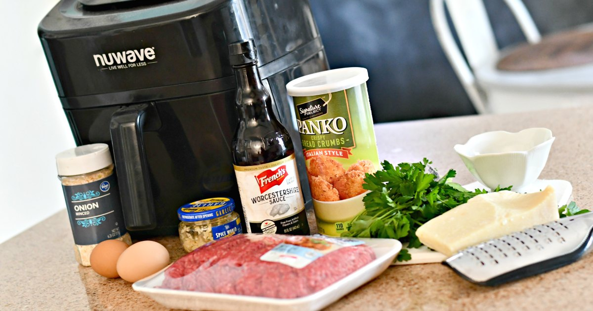 easy air fryer Parmesan meatballs ingredients on the counter