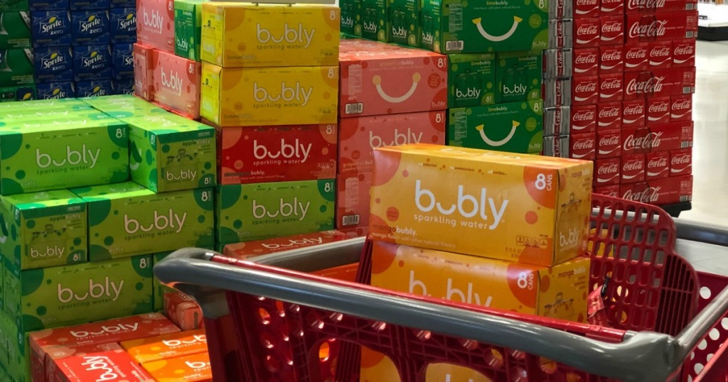 bubly soda packs in Target cart