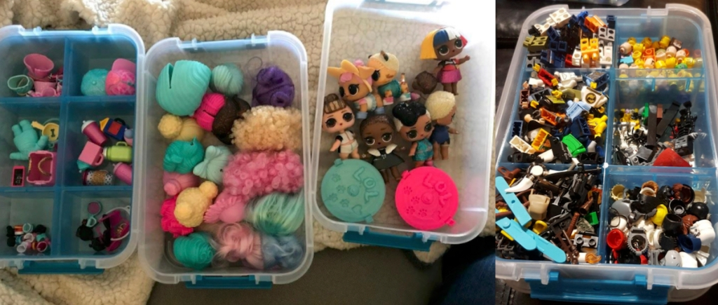 plastic containers with small doll toys and legos inside