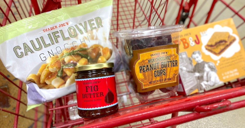 trader joes food sitting in red shopping cart