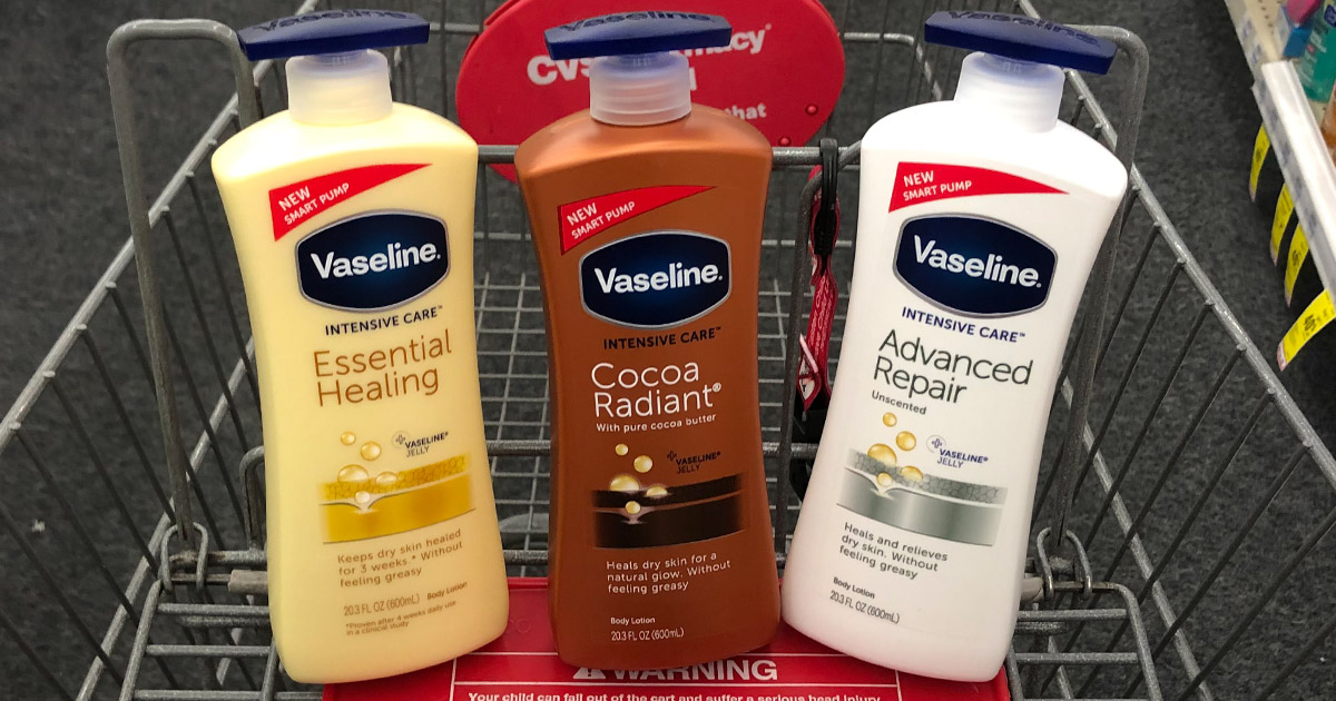 Get a CVS deal on Vaseline intensive care lotion – bottles shown in CVS cart