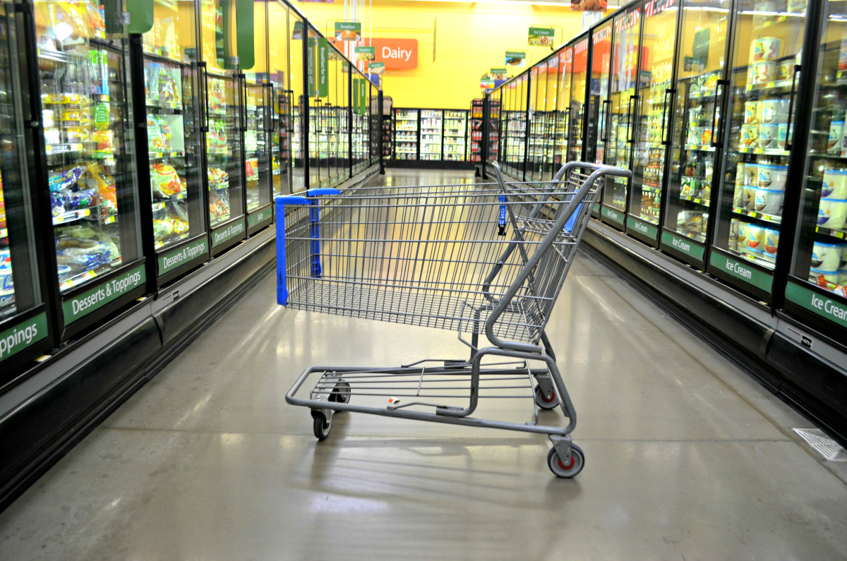 walmart cart in the frozen foods aisle