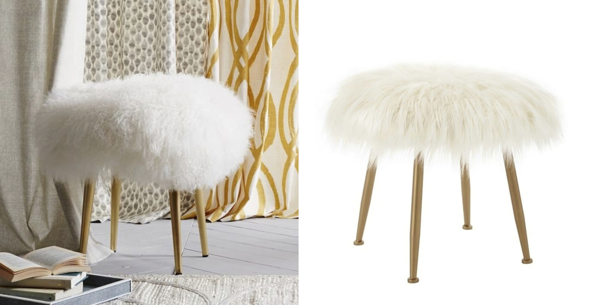 west elm copycat for less money  fur stools comparisons side by side
