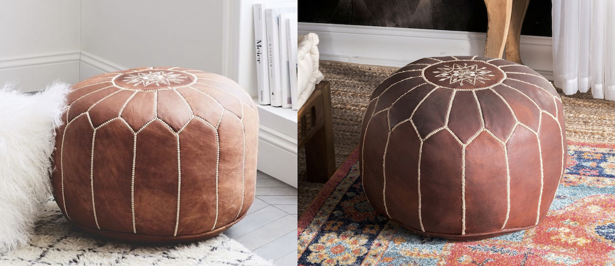 west elm copycat for less money  west elm overstock Moroccan pouf ottoman comparisons side by side
