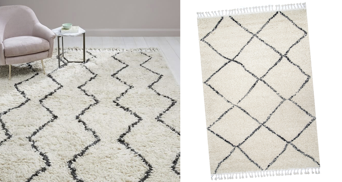 west elm copycat for less money  west elm Moroccan rugs comparisons side by side