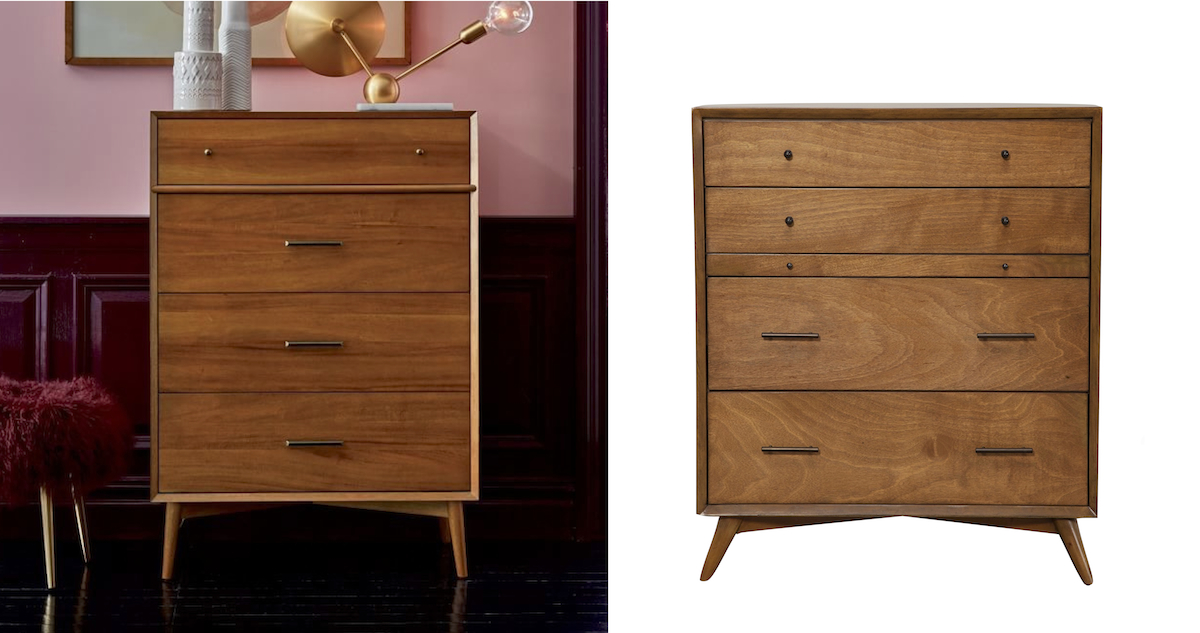 west elm copycat for less money  mid-century modern wood dresser comparisons side by side