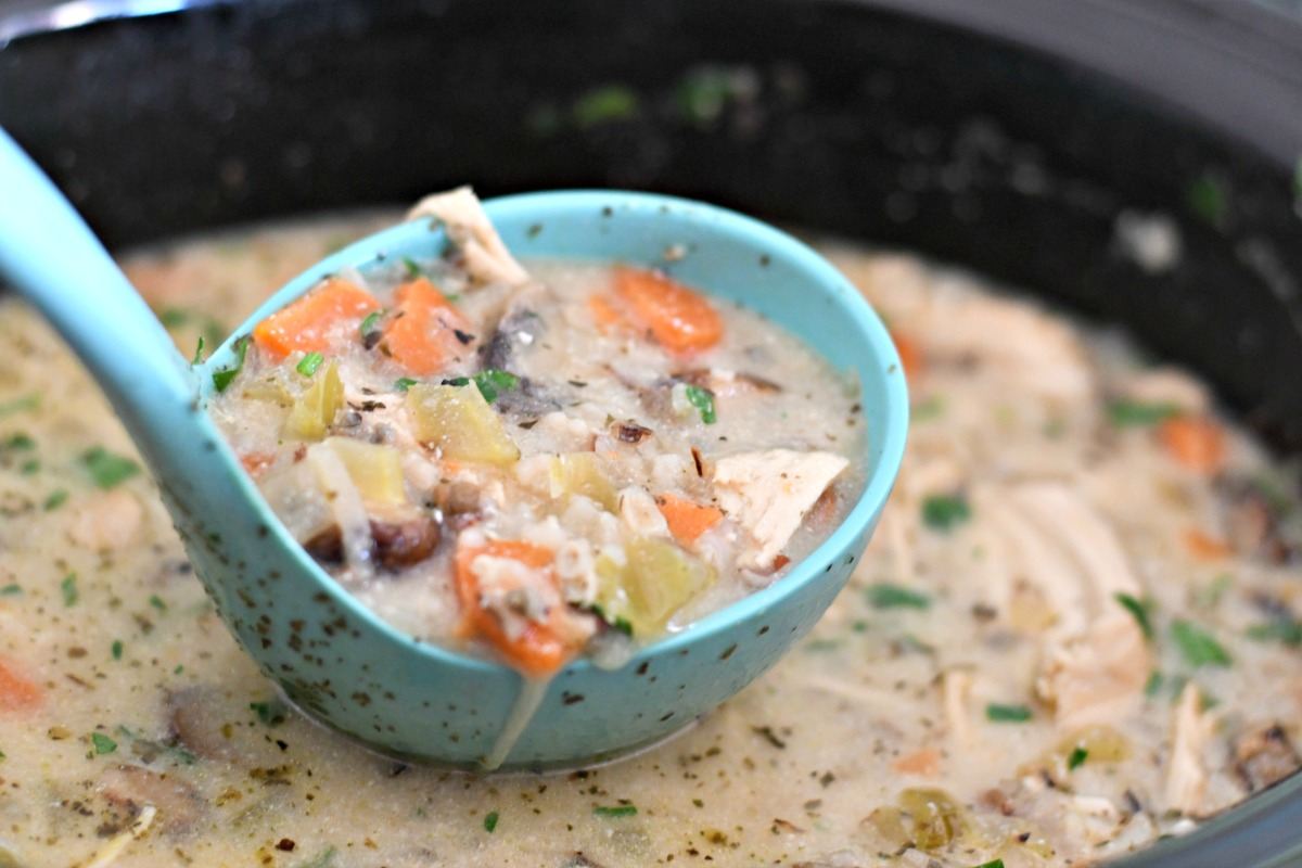 Slow Cooker Wild Rice Soup - in a ladle