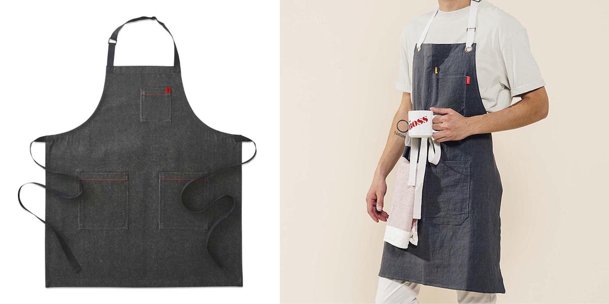williams sonoma copycat budget – chambray denim kitchen apron comparison side by side