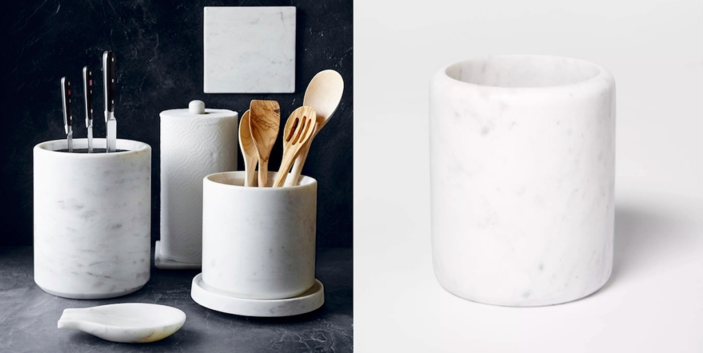 side-by-side of williams sonoma marble utensil holder vs threshold marble utensil holder
