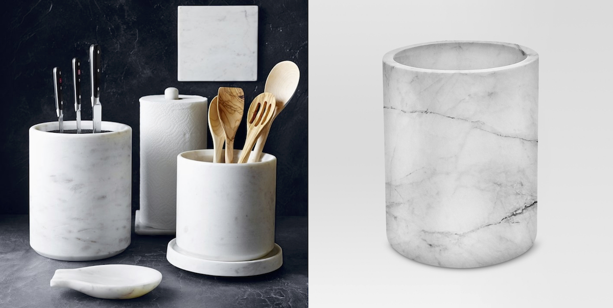 williams sonoma copycat budget – marble utensil holders side by side comparison