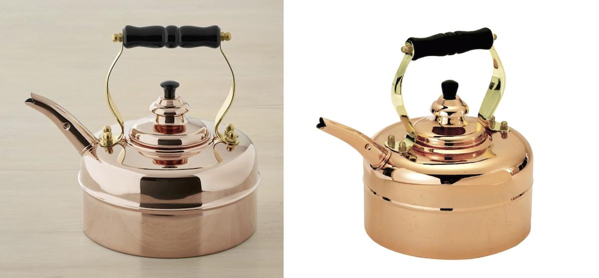williams sonoma copycat budget copper tea pot kettle comparisons side by side
