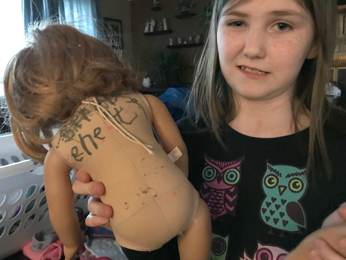 American Girl doll with drawn on body