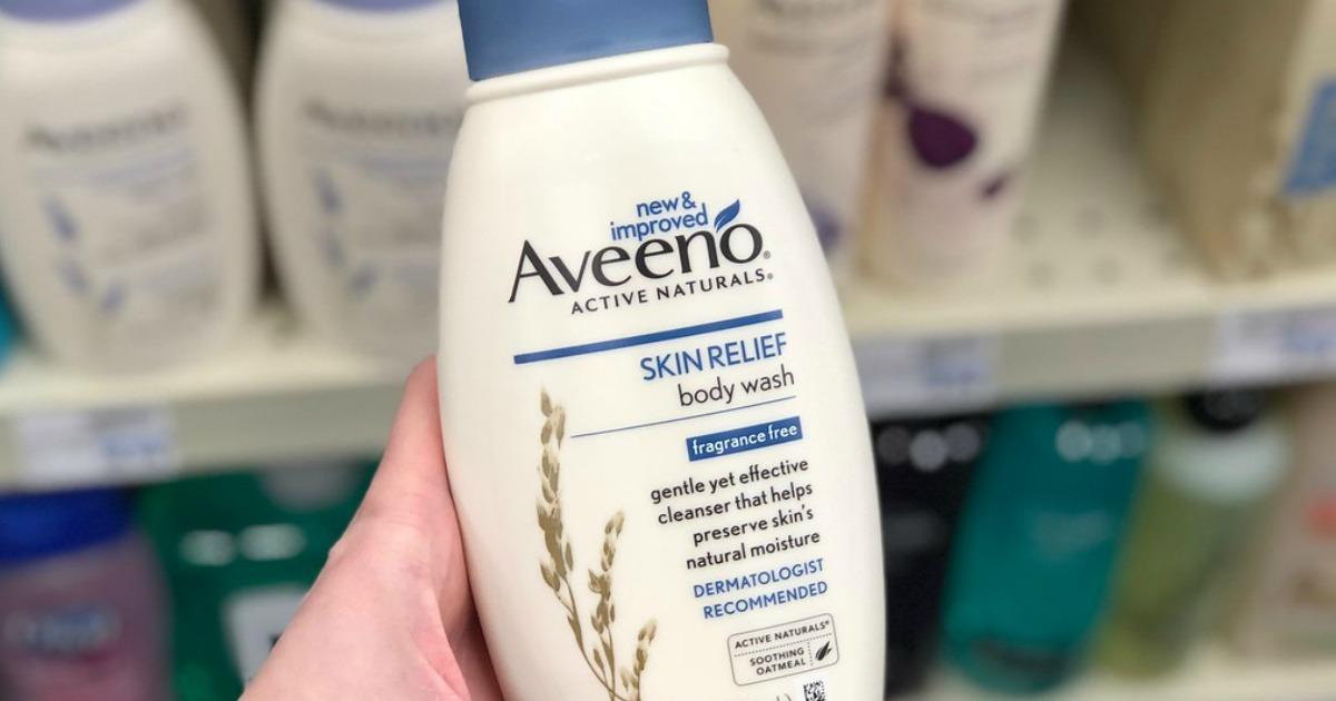 hand holding aveeno skin relief body wash