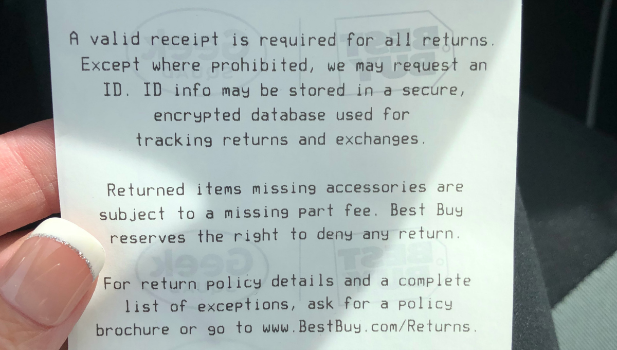 Best Buy receipt – ID required
