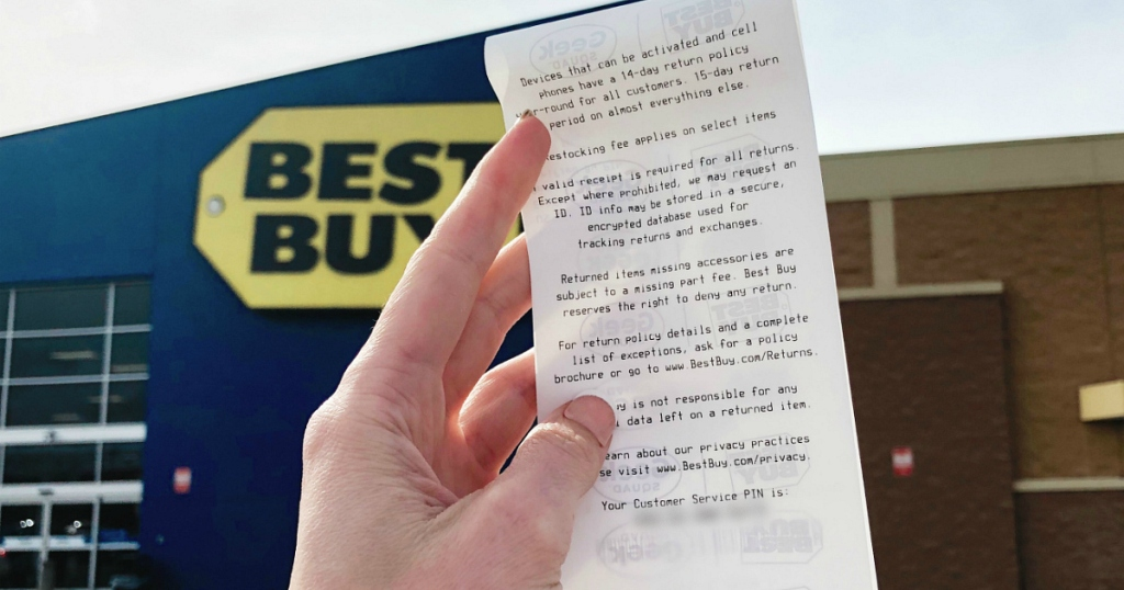 Best Buy store front with receipt