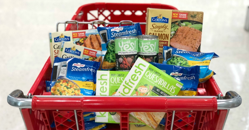 Target grocery cart filled with frozen foods
