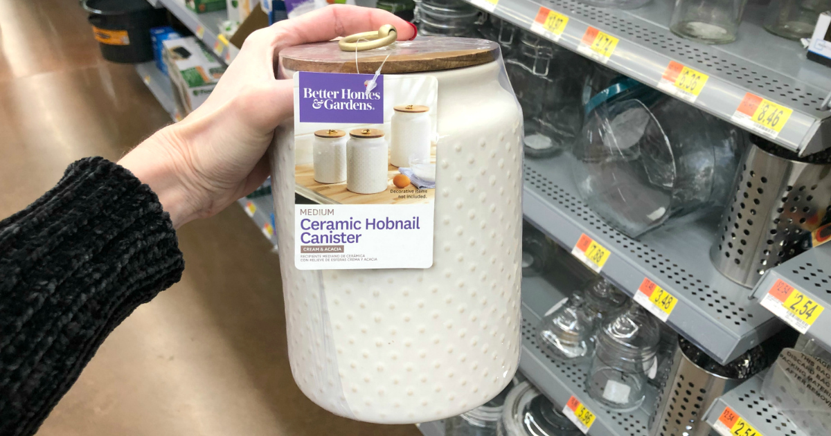 Better Homes & Gardens ceramic hobnail canister at Walmart