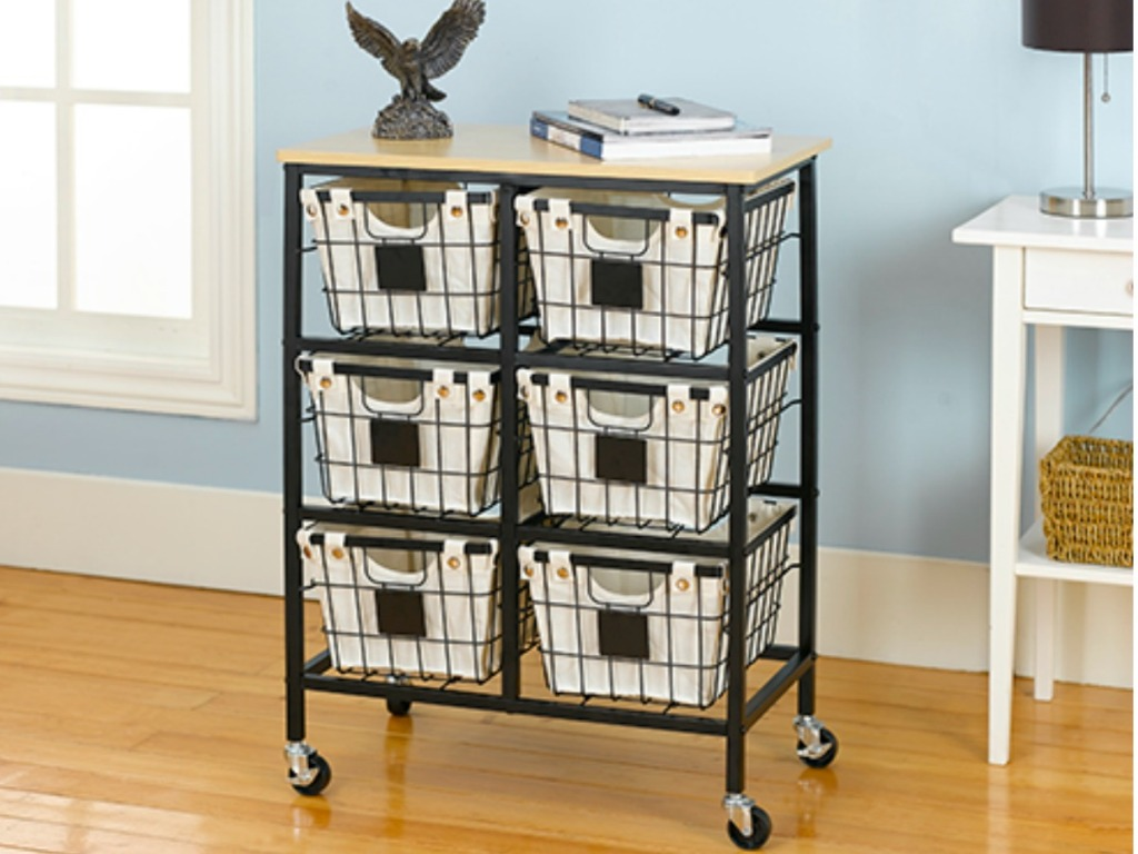 This Trendy Cart Has Six Black Wire Baskets With Canvas Liners To Help Secure Smaller Objects Each Basket Also A Chalkboard Plaque And Features Wood
