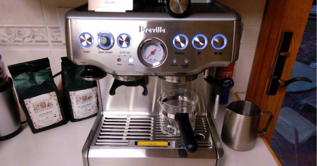 breville espresso maker on counter top