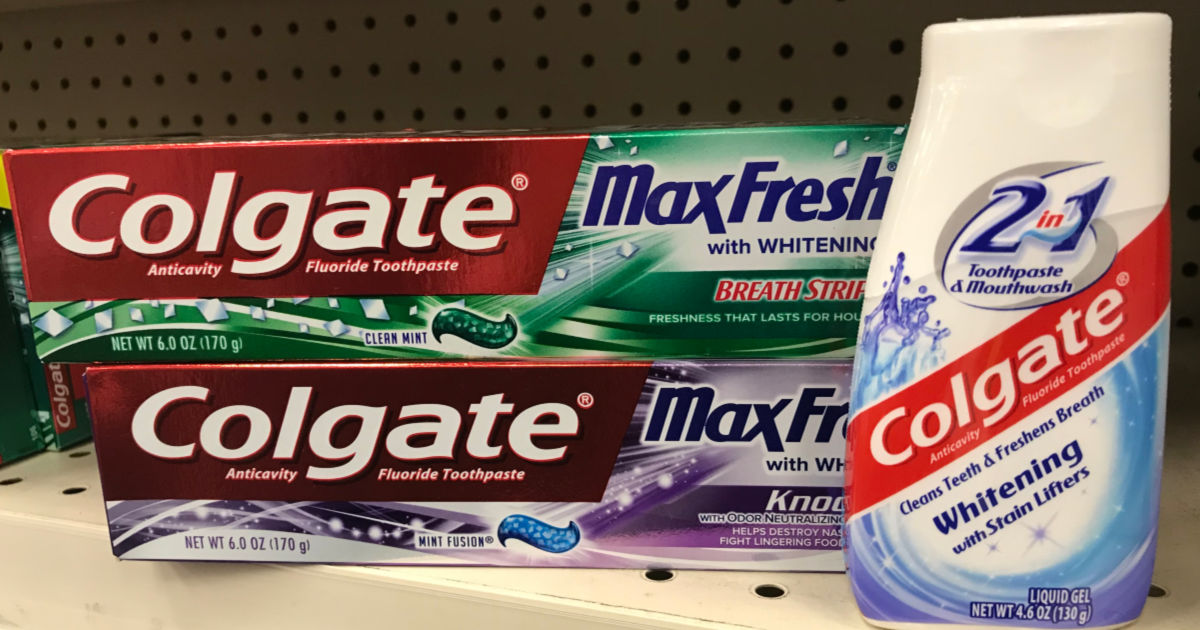 Colgate toothpaste on shelf