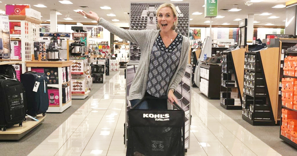 Collin shopping in Kohl's Cart