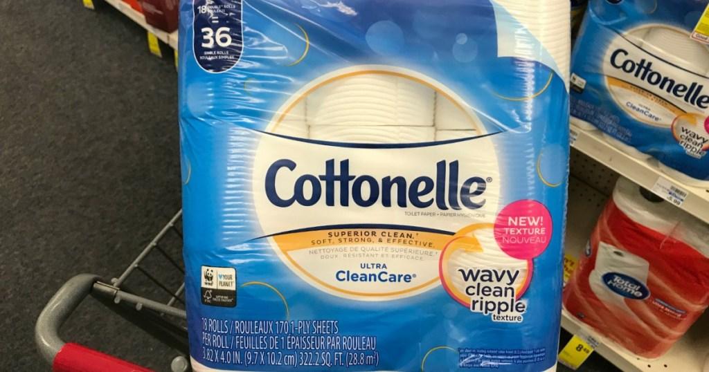 Cottonelle toilet paper in basket