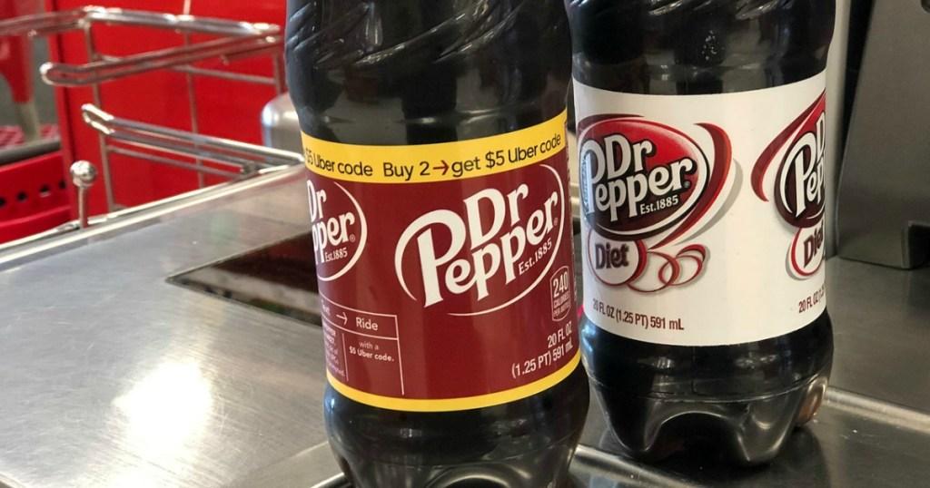 two soda bottles on scanner