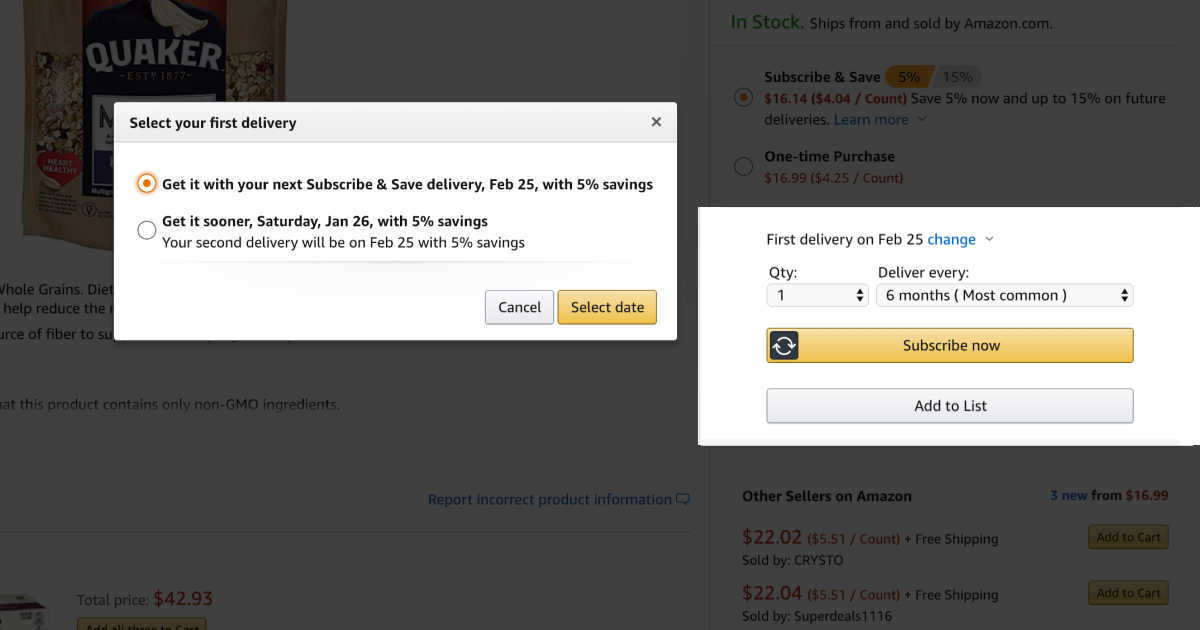Screen shot of Amazon subscribe and save delivery options with quaker oats in the background