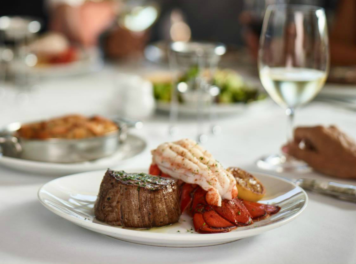 Fleming's Steakhouse Valentine's Day steak and lobster on a plate