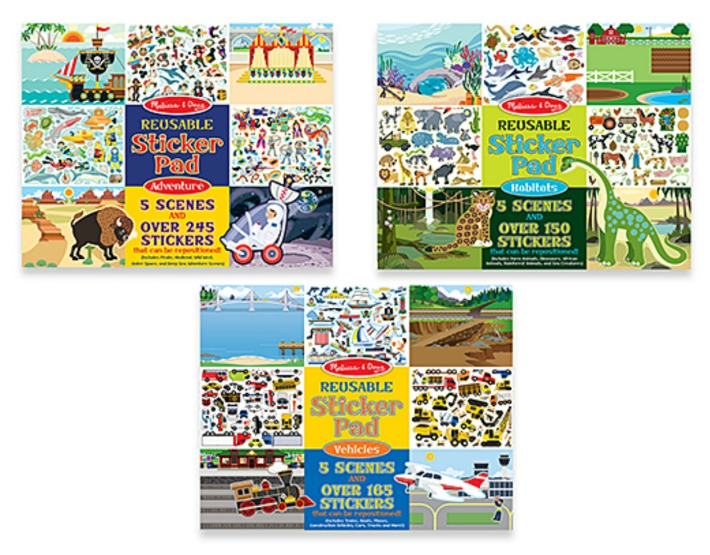 Melissa /& Doug Reusable Sticker Pads Set Vehicles Habitats and Adventures