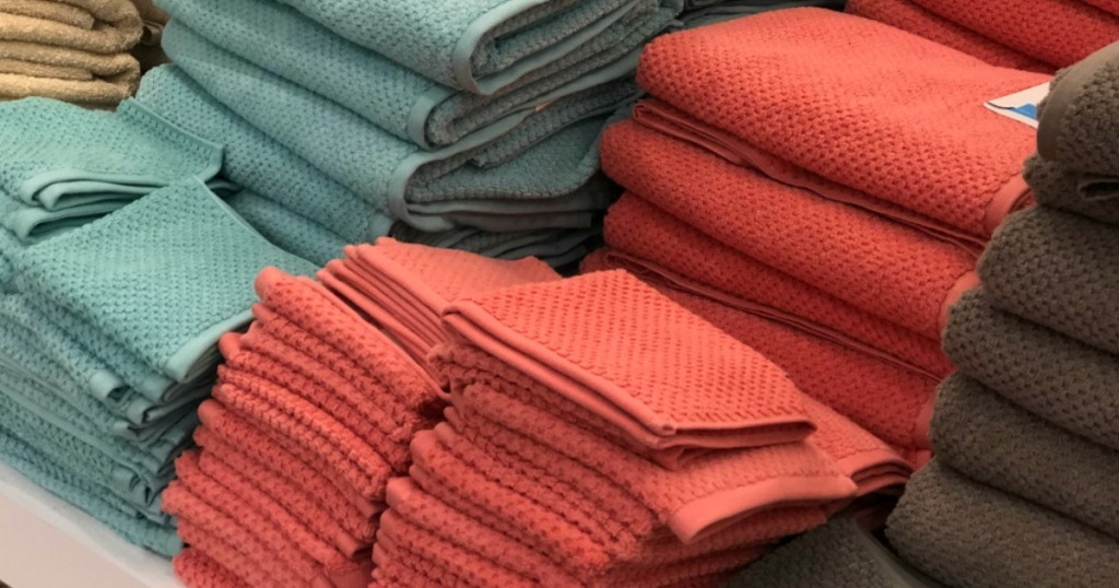 stack of towels on a display