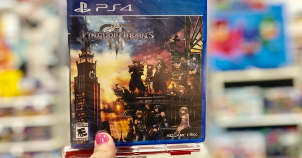 Kingdom Hearts III for PS4 held up in store aisle