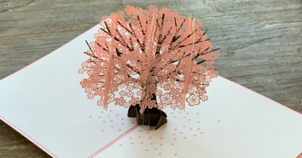 card with pink 3D tree