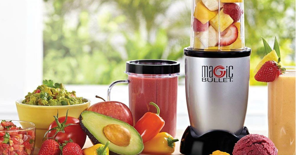 Magic Bullet on counter with fruit