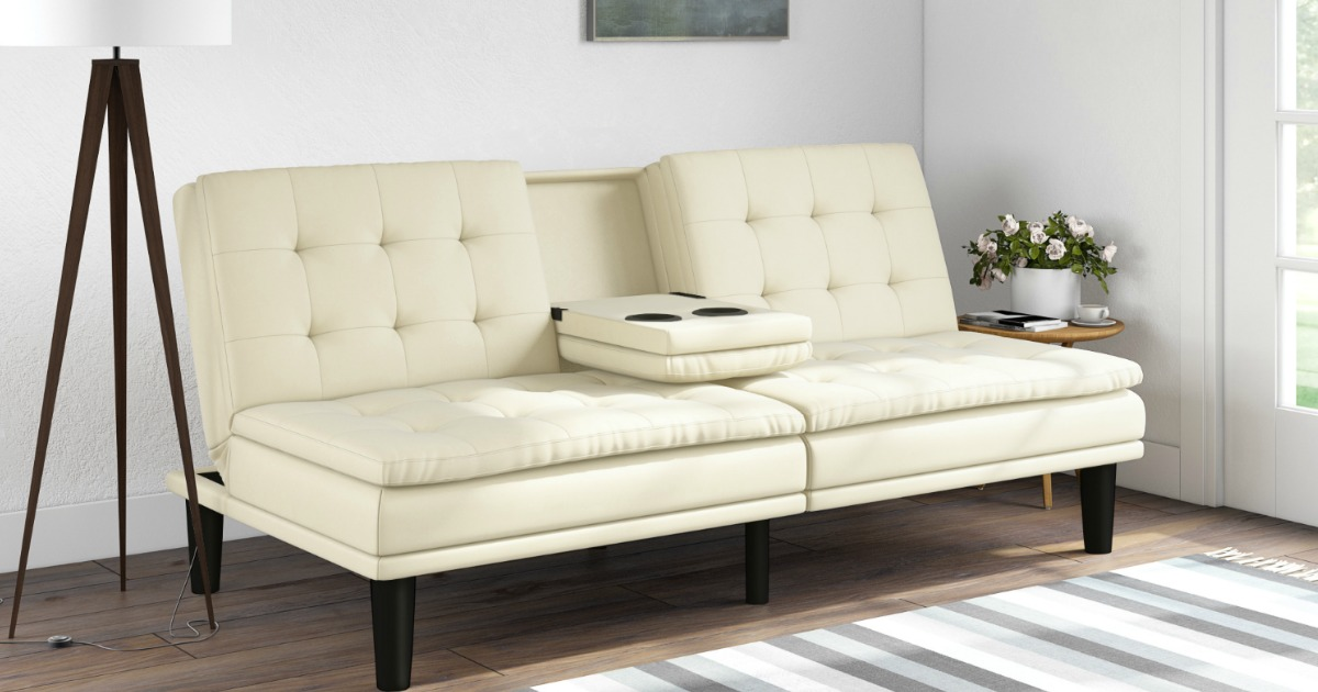 mainstays memory foam pillowtop futon w cupholders as low as shipped regularly 269. Black Bedroom Furniture Sets. Home Design Ideas