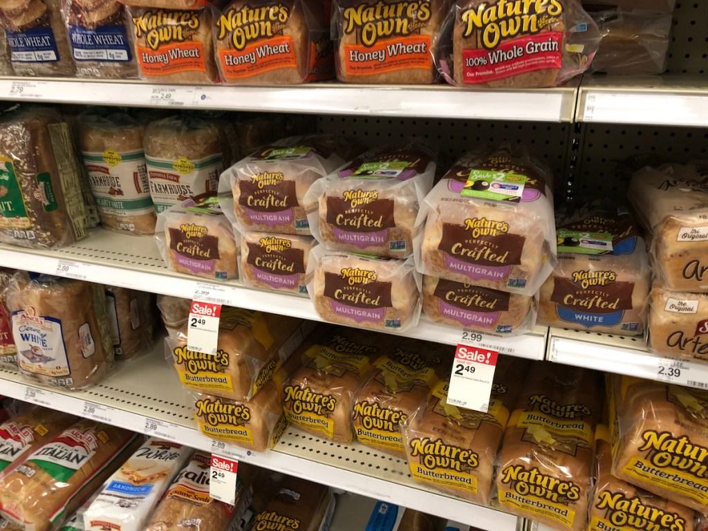 bread sitting on shelf