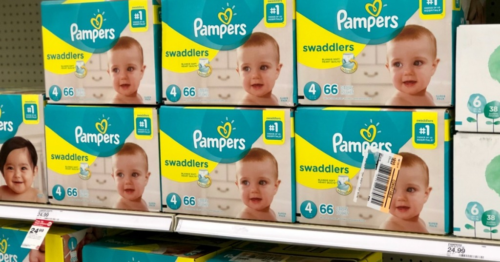 pampers on shelf