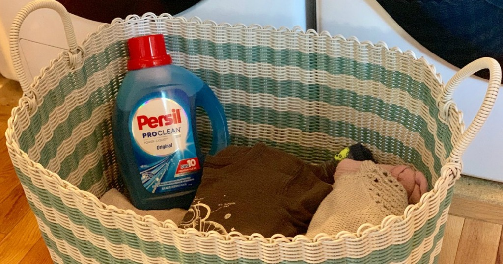 persil laundry detergent in a basket