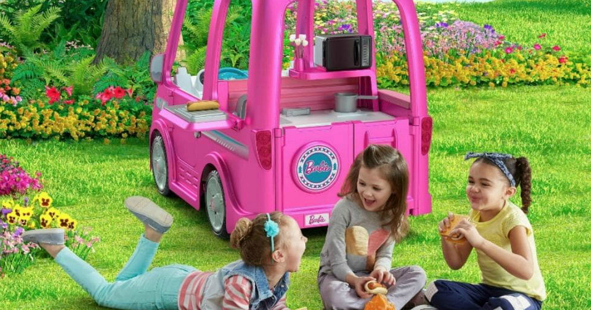 Power Wheels Barbie Camper and young girls