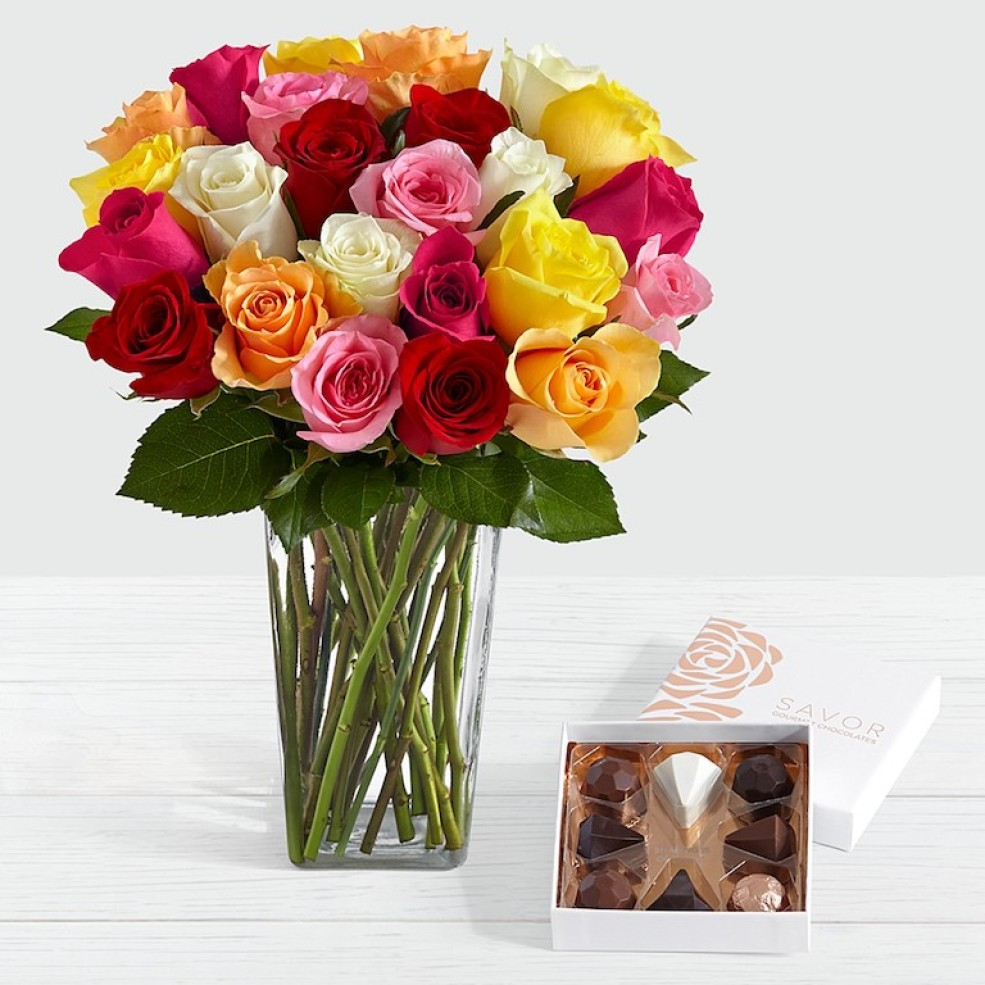 TWO Dozen ProFlowers Roses, Chocolates AND Vase Only $23 97