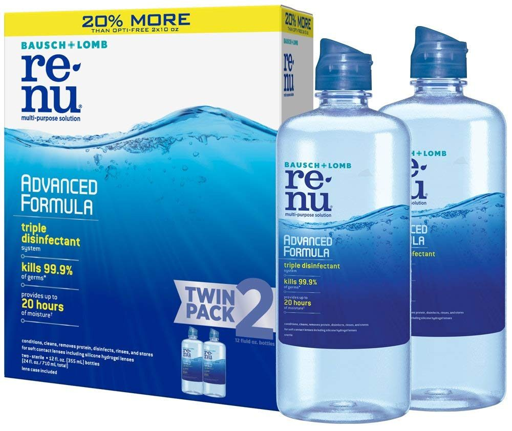 two bottles of ReNu contact lens solution next to the box