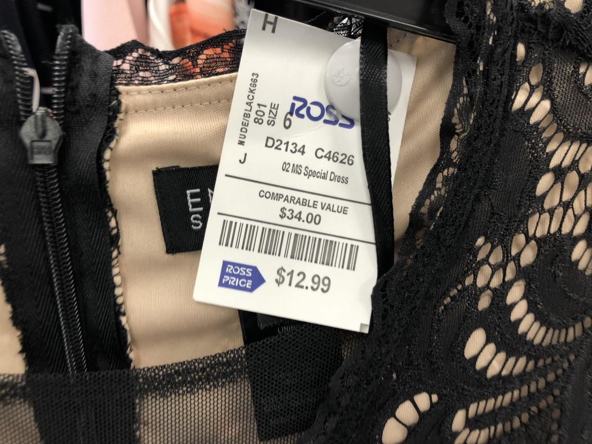 "Ross prom dress label showing ""comparable value"" pricing"