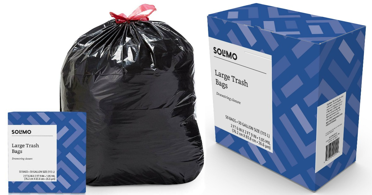 Solimo Large Trash Bags 50-count box with black trash bag filled to show detail